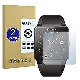 X-Dision [2 Pack Protector de Pantalla de Vidrio Templado Compatible con Sony SmartWatch SW2,[Ultra Resistente,Sin Burbujas,Fácil de Instalar] Protector de Pantalla para Sony SmartWatch SW2