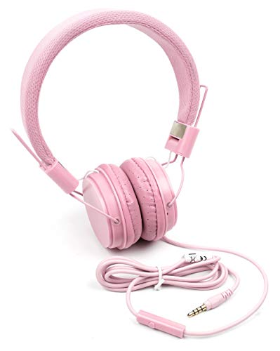 DURAGADGET Pink Ultra-Stylish Kids Fashion Headphones w/Padded Design & Microphone - Suitable for Use With Fuhu Nabi & Nabi 2 Kids Tablet