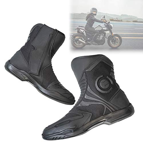EnweMahi Botas Motocicleta Motocross Tejido Malla, Botas Moto ProteccióN Tobillo Anti CaíDa, Moto Botas Piel Deportivas Respirable con FuncióN Reflectante,41