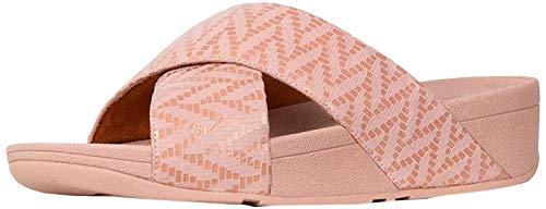 Fitflop Lulu Slide-Chevron Suede, Sandales Bout Ouvert Femme, Multicolore (Black/Oyster Pink 673), 36 EU