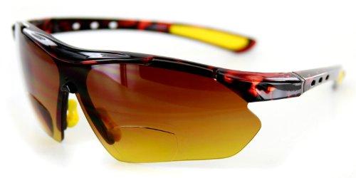 Aloha Eyewear Daredevil Mode Bifokalwillen Sonnenbrille mit Wrap-Around Sports Design und Anti-Glare Beschichtung (Tortoise + Gelb W/Bernstein +3.00) 3 2 Mittel Schildkröte Gelb