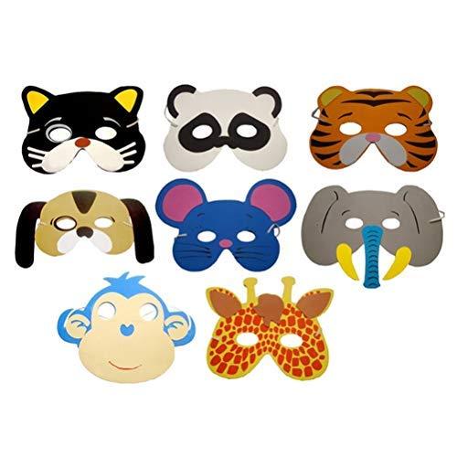 Uyuke 12 stks Willekeurige Stijlen Halloween Childrens Dierlijke Schuimmaskers Party Tas Vulstoffen voor Fancy Dress Party Masquerade Verjaardagsfeestje