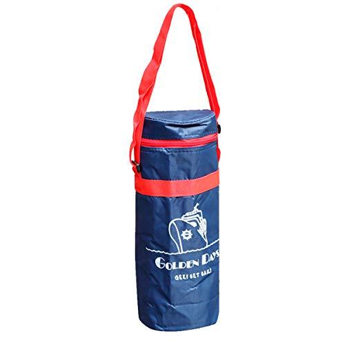 Bolsa térmica Porta Botellas, refrescos, bebidas. Color azul marino y rojo. Con asa para fácil transporte. MEDIDAS: 34 x 12 cm. Nevera isotérmica.