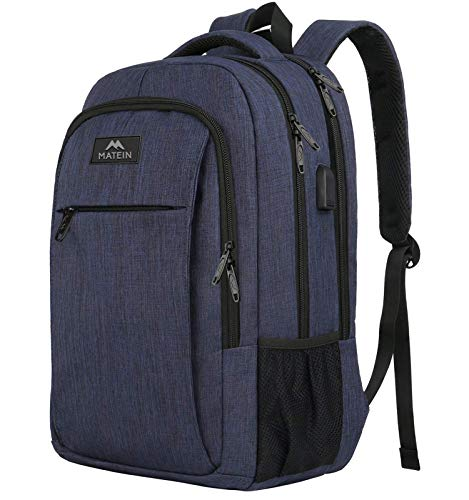 Laptop Backpack with USB Charging Port,Slim Travel Backpack with Laptop Compartment for Men and Women,Water Resistant College School BookBag Computer Bag for Girls and Boys Fits 15.6 In Laptop, Blue