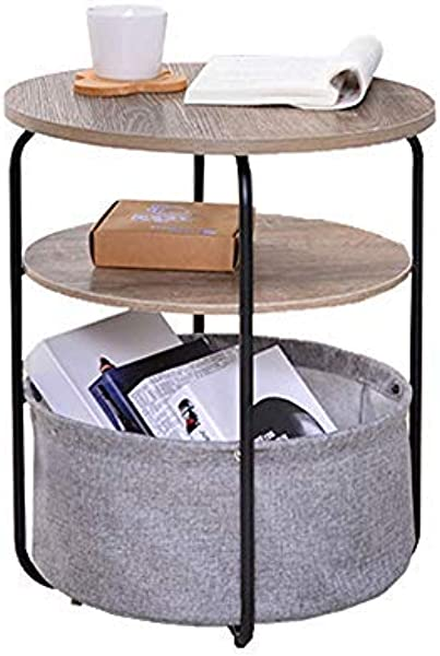 End Table With Cloth Storage Bin Metal Frame Wood Side Table 2 Layer Table For Living Room Coffee