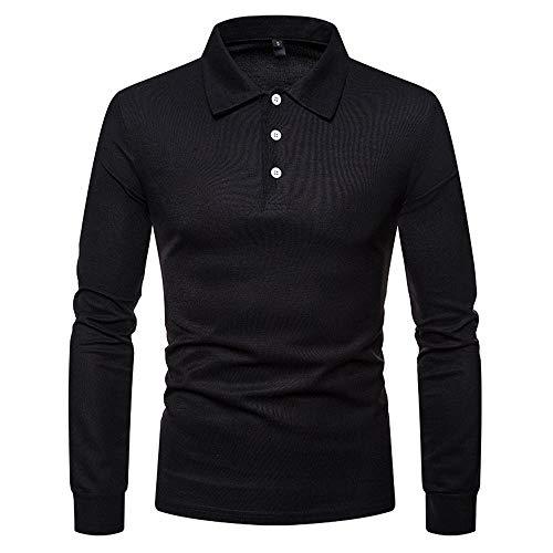 Herren Poloshirt Langarm Slim Fit Klassisch Basic Männer Herbst Sweatshirt Tennis Golf T-Shirt Frühling Herbst Leicht Business Casual Hemd Sports Einfarbig Mode atmungsaktives Tops A-Black M