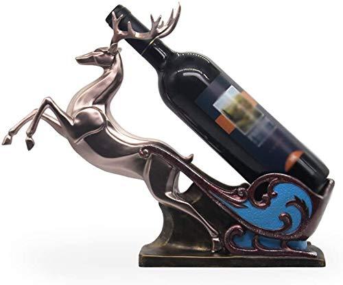 Wijnrek prachtige rendieren hars wijnrek ambachten 40x12x32cm rek van de wijn (颜色 Kleur: Broze) WKY (Size : Champagne gold)