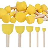 WOWOSS 60 Pcs Assorted Size Round Sponges Brush Set, DIY Paint Daubers Tools for Kids Arts and Crafts, Stencils, Painting