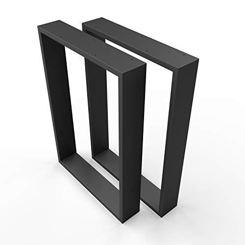 sossai® Design Gambe per tavolo in acciaio TKK3 | Set di 2 | colore: nero | larghezza 70 cm x altezza 72 cm | Profilo 20x100mm | struttura tavolo XXL