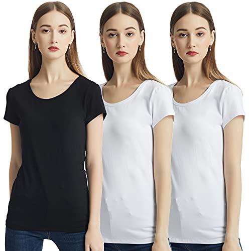 KELOYI Camisetas Mujer Verano Justada Cuello Redondo Ropa Mujer Verano 2021 Manga Corta Basica Blusas Mujer Blanco Negro Pack de 3 XS