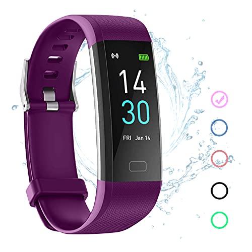 Fitness Tracker Armband Wasserdicht IP67 Violett mit Pulsmesser Schlafmonitor Fitness Tracker Schrittzähler Aktivitätstracker Uhr für Damen Herren Kinder Smartband für IOS Android
