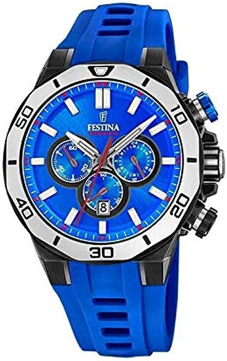 FESTINA Reloj Modelo F20450/7 de la colección Chrono Sport, Caja de 44 mm Correa de Acero Azul para Caballero