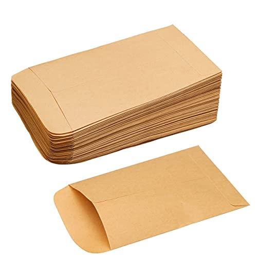 nuoshen 100 Stück Kleine Braune Flachbeutel, 6x10 cm Mini Papierbeutel Kraftpapier Papiertüten zum Befüllen Samen Bonbons Süßigkeiten Weihnachtskarte Münzumschläge Schmuck
