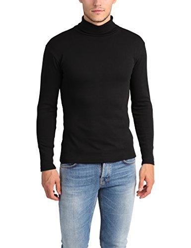 Lower East Camiseta con cuello alto Slim Fit para hombre, Negro, L