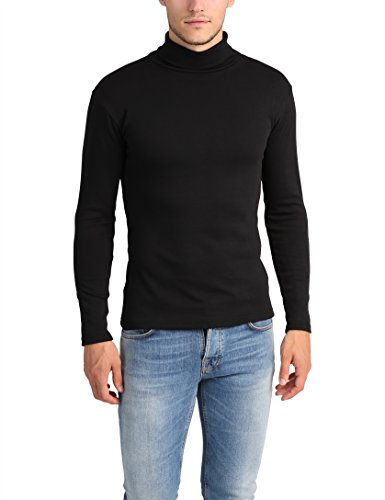Lower East Camiseta con cuello alto Slim Fit para hombre, Negro, M