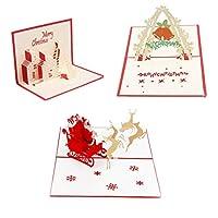 SUPVOX 3ピースクリスマスグリーティングカード漫画ホリデー3d立体エルクトレーラー城ベルパターンクリスマスカードギフトカード