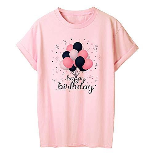 T-Shirt Femme T-Shirt Femmes D'Été À Manches Courtes Floral Fleur De Mode Dame Tops Rose T-Shirt Dames Femelle T-Shirt XL 13769-Rose