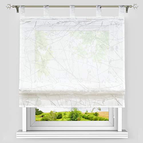 Heichkell Ausbrenner Raffrollo mit Schlaufen Raffgardine aus Voile Ausbrenner Design Baumästemuster Faltenrollo in Küche Rollos Transparenter Vorhang Weiß BxH 80x140 cm