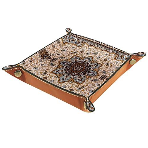 Plateau de valet de stockage de bureau, stockage de bijoux de plateau pliable en cuir Texture de tapis pour bureau, bureau, clé, bijoux