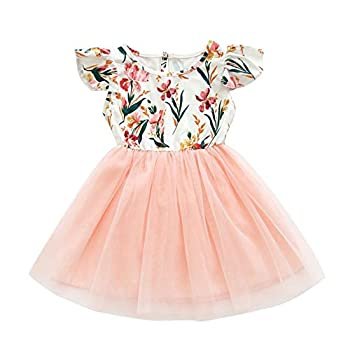 Toddler Baby Girls Tutu Dress Ruffle Sleeveless Floral Princess Dress Summer Clothes Outfits  Pink-Daffodil 2-3T
