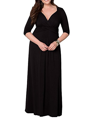 Kasen Mujeres V-Cuello Talla Grande Vestido Largo Vestido De Cóctel Negro XL