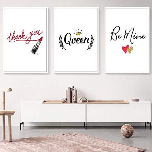 nobrand Nordic Queen lippenstift Hartelijk dank inspirerende Engelse pret meisjes slaapkamer poster wandkunst canvas schilderij huis afbeelding wanddecoratie no frame-40x50cmX3