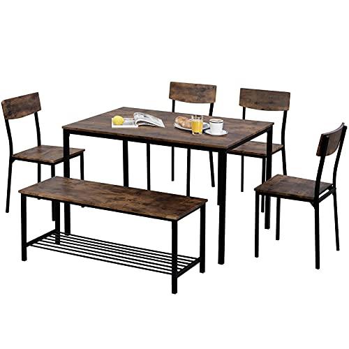 Juego de 6 sillas y bancos de mesa de comedor de madera con marco de acero industrial, color marrón