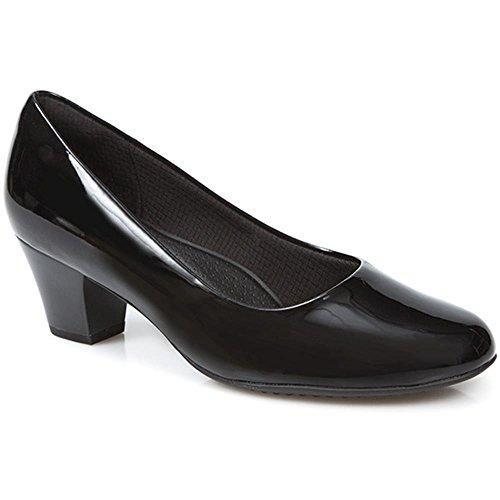 Piccadilly for Pavers Damen Klassische Absatz Schuhe Pumps Schwarz Patent EUR 37