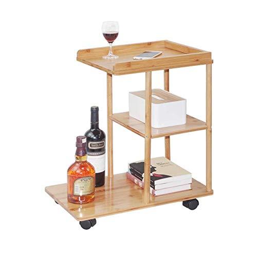 NBVCX Möbel Dekoration Bambus Rollsofa Beistelltisch Mobile Snack Kaffeetablett Beistelltisch mit Rädern für Wohnzimmer Schlafzimmer Kleine Räume H24.2IN