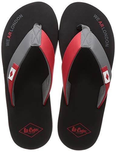 Lee Cooper Men's Grey/Red Flip-Flops - 9 UK (43 EU) (10 US) (LC2063f)