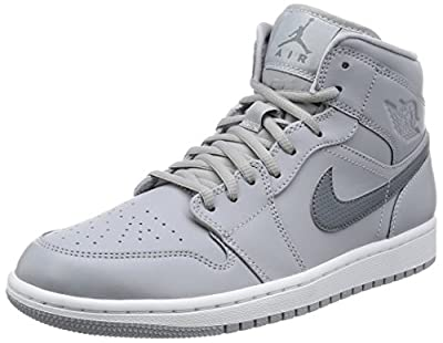 Jordan Nike Mens 1 Mid Wolf Grey/Cool Grey/Cool Grey Basketball Shoe 8 Men US