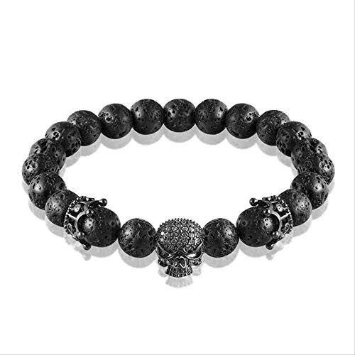 JYHW Brand Natural Beads strand Bracelet Micro Pave CZ Black Skeleton Skull Corwn Lava Rock Stone Energy Men Boeddha Jewelry 17CM Black k