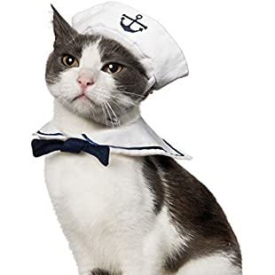 Namsan Cat Dog Sailor Costume Hat Navy Tie Collar