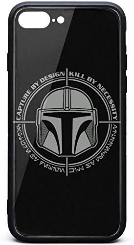 Carcasa rígida para iPhone 8 Plus/iPhone 7 Plus The-Mandalorian-Boba-Fett-Bounty-Hunter- Unisex delgado vidrio templado negro antiarañazos, protector de golpes