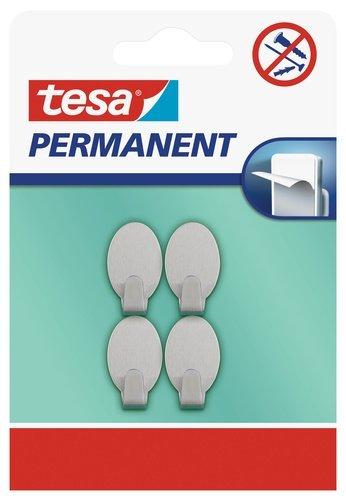 tesa H6661000 Permanent Haken Oval Metall, grau, 666100000000, XS
