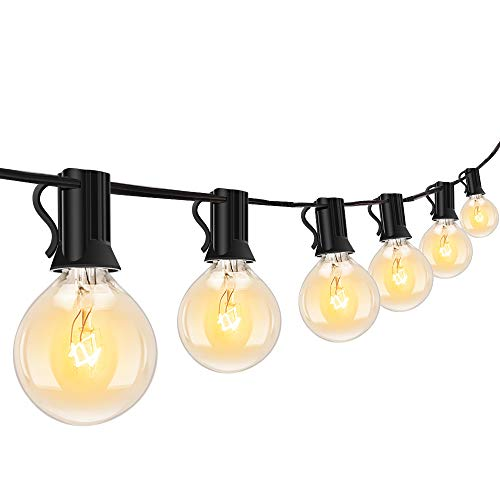 Outdoor String Light-50Ft G40 Globe Patio Lights with 50 Edison Glass Bulbs(3 Spare), Waterproof Connectable Hanging Light for Backyard Porch Balcony Deck Party Decor, E12 Socket Base, Black