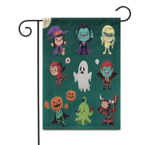 Awowee 28'x40' Garden Flag Vintage Halloween Demon Witch Vampire Mummy Ghost Alien Monster Outdoor Home Decor Double Sided Yard Flags Banner for Patio Lawn