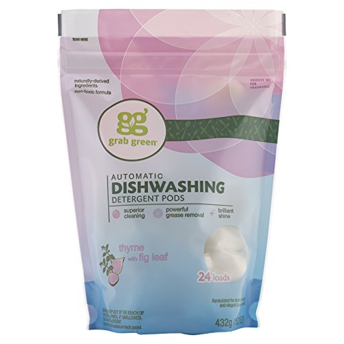 Grab Green Natural Dishwasher Detergent Pods, Organic Enzyme-Powered, Plant & Mineral-Based, Thyme + Fig Leaf—with Essential Oils, 24 Loads