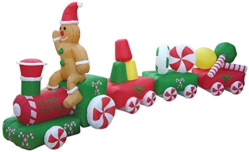 Air Blown Inflatable 14.8' Christmas Candy Train w/Gingerbread Man Yard Decoration