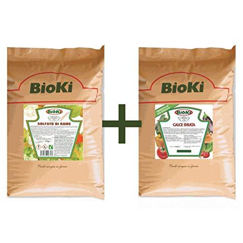 Bioki Offerta composta da Solfato di Rame da 8 kg + Calce Idrata da 4 kg, Alta solubilità' Indicato per Piante da orto, da frutto e da Giardino. Peso Totale 12 kg