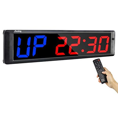 Jhering LED Temporizador de Entrenamiento de Intervalo, Cronómetro, Reloj de Cuenta Atrás/Arriba, Temporizador de Gimnasio con Remoto para Gimnasio en Casa Garaje Fitness 4 '6 dígitos(Azul/Rojo)