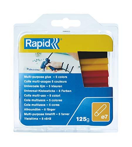 Rapid 5001363 7 mm kleefsticks gekleurd universeel, 125 g, 36 sticks, universele hete lijm, lijmstiften voor lijmpistool 7 mm