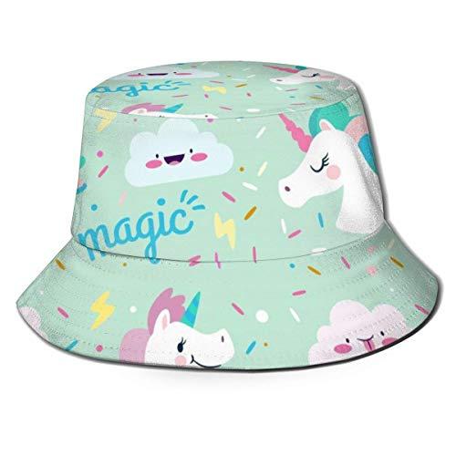 Sombrero de Pescador Unisex con Estampado sin Costuras de Unicornio, Gorra de Pescador de ala Ancha para Hombre, Mujer, Color Negro-C0