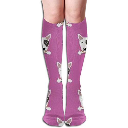 hyjhytj 0249 Cartoon Charakter Bullterrier Hund Komfortable Erwachsene Kniehohe Socke Gym Outdoor Socken 50 cm 19,7 Zoll
