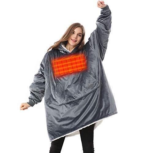 Venustas Heated Wearable Blanket Hoodie with Battery Pack 7.4V, Oversized Sherpa Blanket Hoodie...