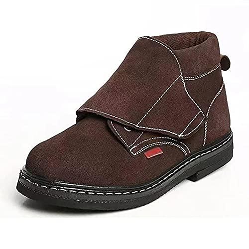Chaussures de travail Bottes de sécurité soudées de soudeur pour hommes - Doublure en daim et en treillis, plaque centrale en acier et semelle intermédiaire en acier, avec semelle 100% en caoutchouc -