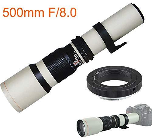 JINTU - Lente de teleobjetivo para cámara digital Nikon D3100 D3200 D3300 D3400 D5300 D5500 (500 mm, f/8.0, 2 unidades, montaje en T incluido)