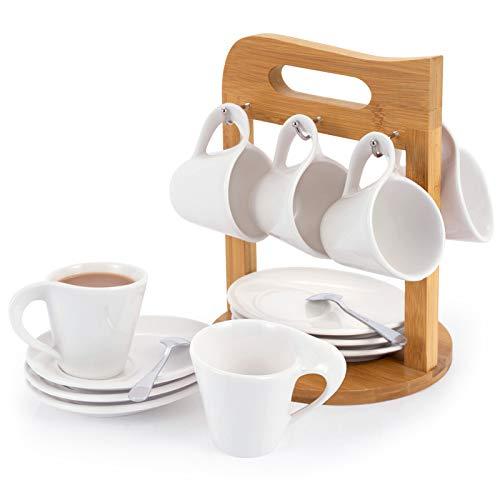 SOPRETY Juego de 6 tazas de café con platillos sobre soporte de...