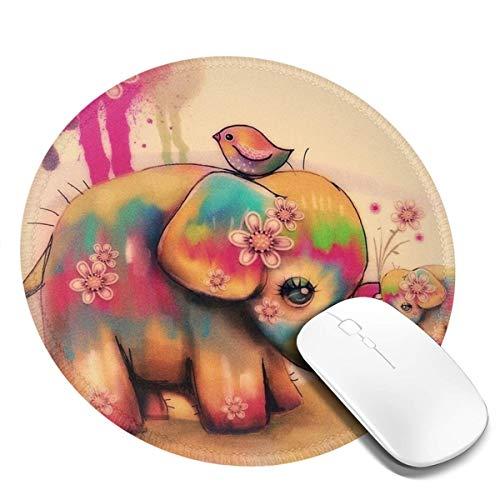 7.9x7.9in Vintage kleurstof olifant en vogel ronde muismat bureau toetsenbord mat grote muis pad voor computer desktop laptop