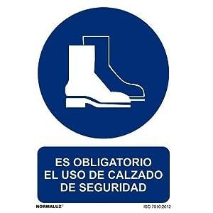 41h2v37lzLL. SS300  - Señal Obligatorio El Uso De Calzado De Seguridad PVC 21x30 Azul